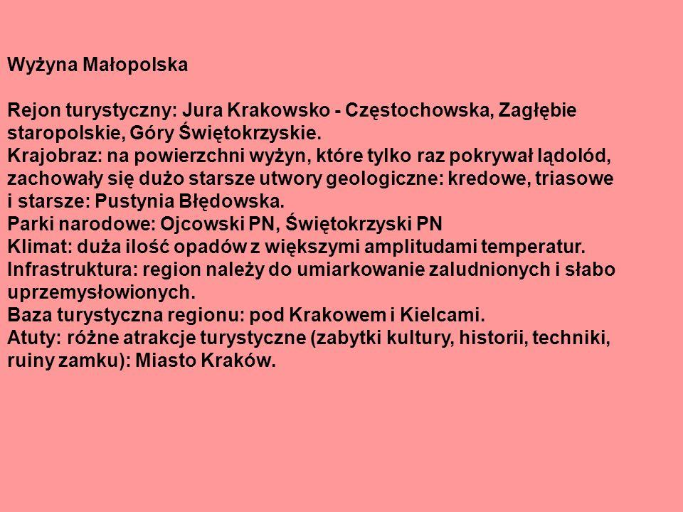 Wyżyna Małopolska Rejon turystyczny: Jura Krakowsko - Częstochowska, Zagłębie.