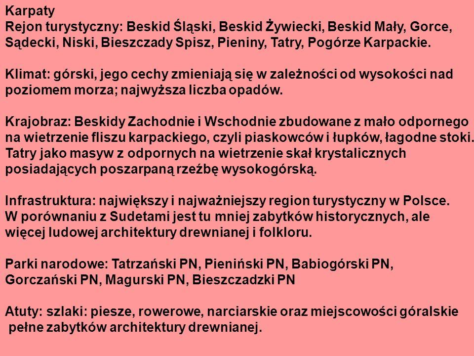 Karpaty Rejon turystyczny: Beskid Śląski, Beskid Żywiecki, Beskid Mały, Gorce,