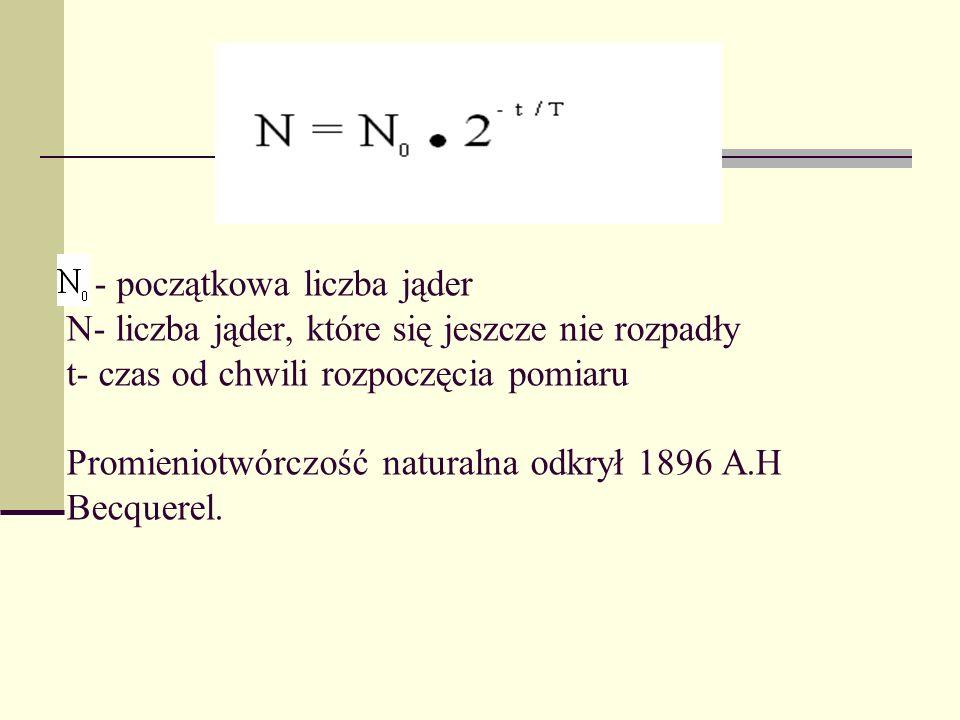 - początkowa liczba jąder N- liczba jąder, które się jeszcze nie rozpadły t- czas od chwili rozpoczęcia pomiaru Promieniotwórczość naturalna odkrył 1896 A.H Becquerel.