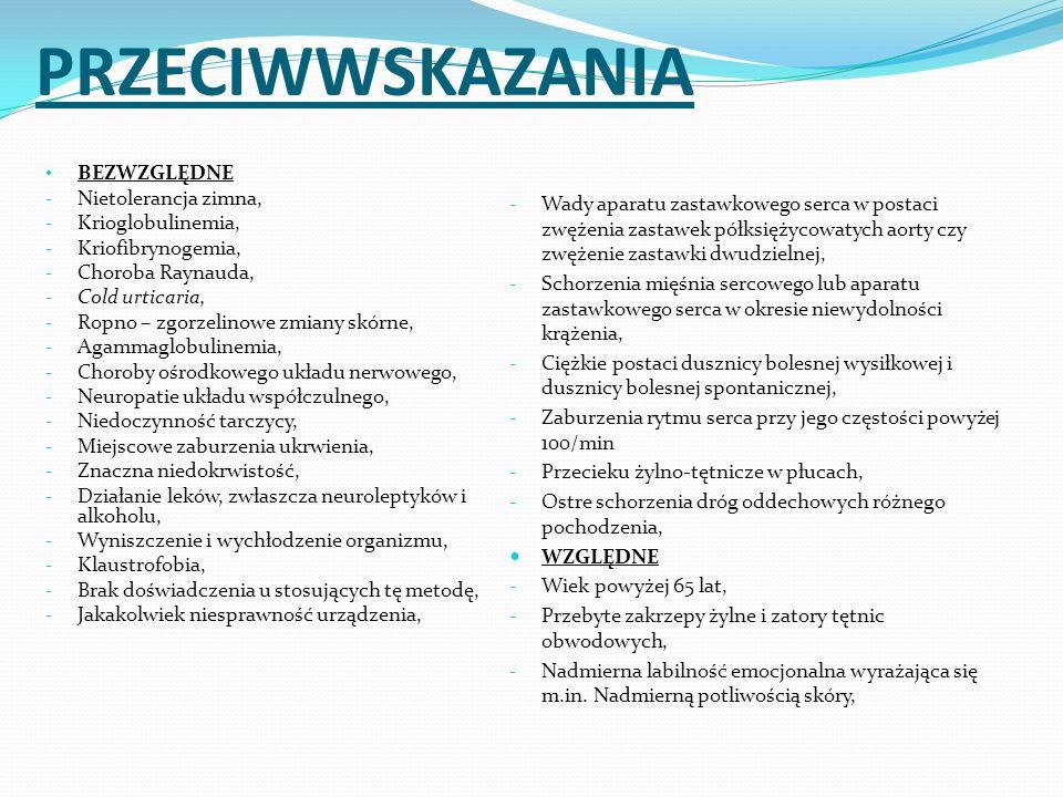 PRZECIWWSKAZANIA BEZWZGLĘDNE Nietolerancja zimna, Krioglobulinemia,