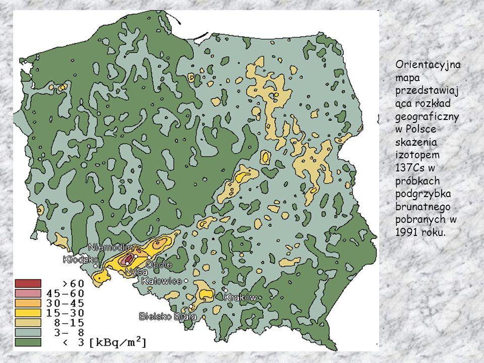 Orientacyjna mapa przedstawiająca rozkład geograficzny w Polsce skażenia izotopem 137Cs w próbkach podgrzybka brunatnego pobranych w 1991 roku.