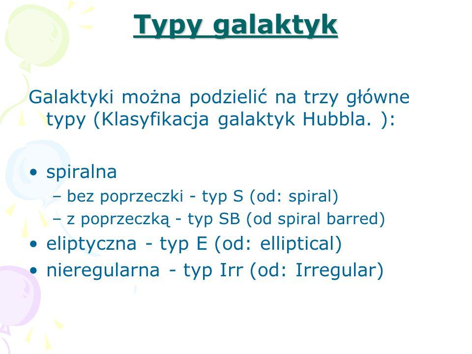 Typy galaktyk Galaktyki można podzielić na trzy główne typy (Klasyfikacja galaktyk Hubbla. ): spiralna.