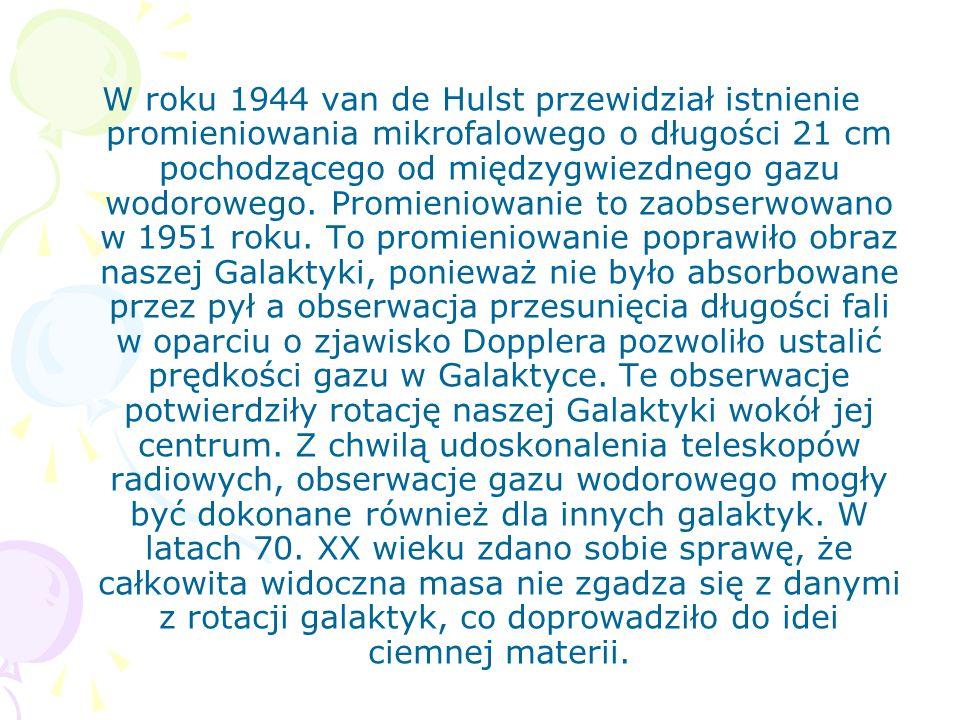 W roku 1944 van de Hulst przewidział istnienie promieniowania mikrofalowego o długości 21 cm pochodzącego od międzygwiezdnego gazu wodorowego.