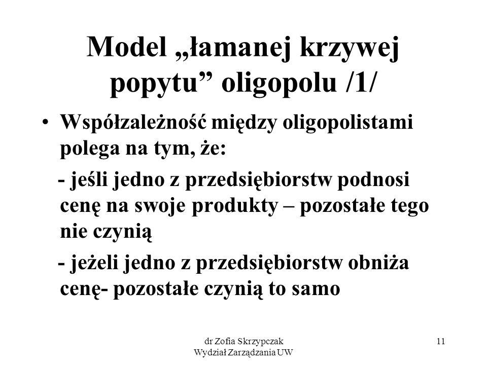 """Model """"łamanej krzywej popytu oligopolu /1/"""