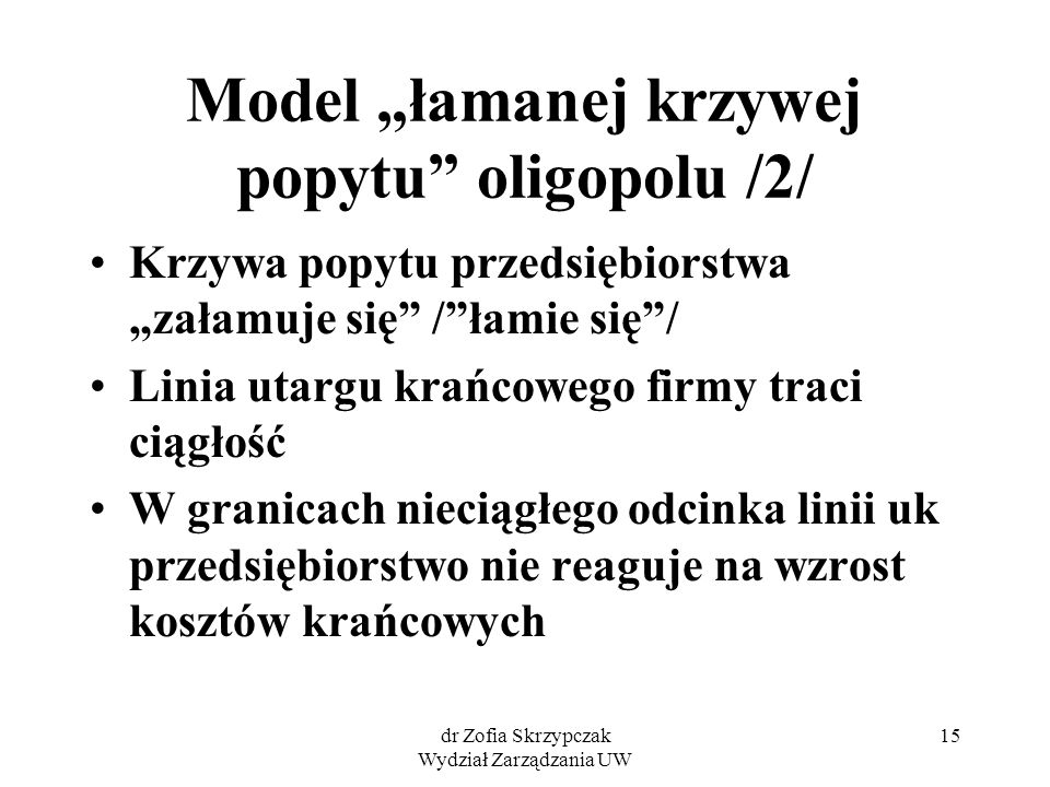 """Model """"łamanej krzywej popytu oligopolu /2/"""