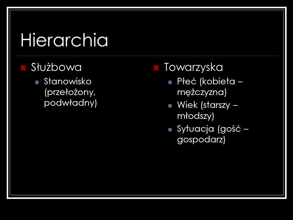 Hierarchia Służbowa Towarzyska Stanowisko (przełożony, podwładny)