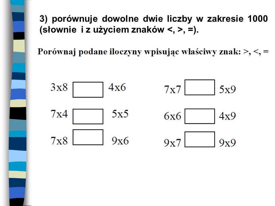 3) porównuje dowolne dwie liczby w zakresie 1000 (słownie i z użyciem znaków <, >, =).