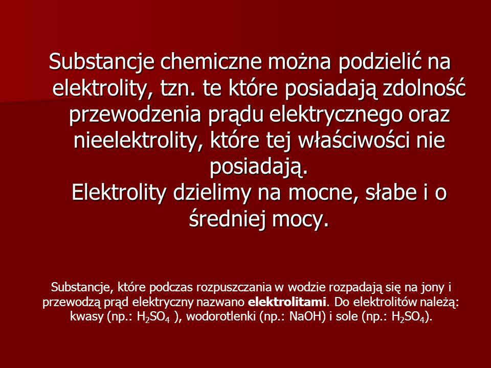 Substancje chemiczne można podzielić na elektrolity, tzn