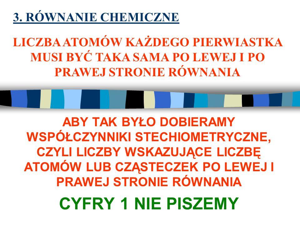 CYFRY 1 NIE PISZEMY 3. RÓWNANIE CHEMICZNE