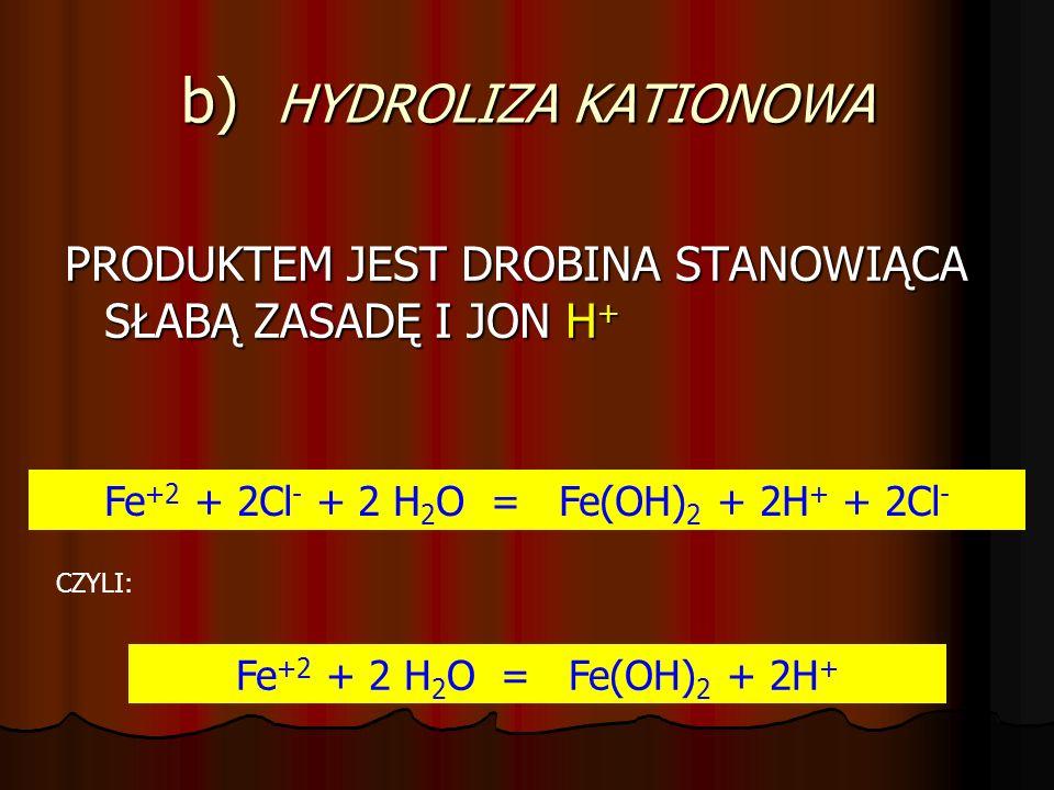 b) HYDROLIZA KATIONOWA