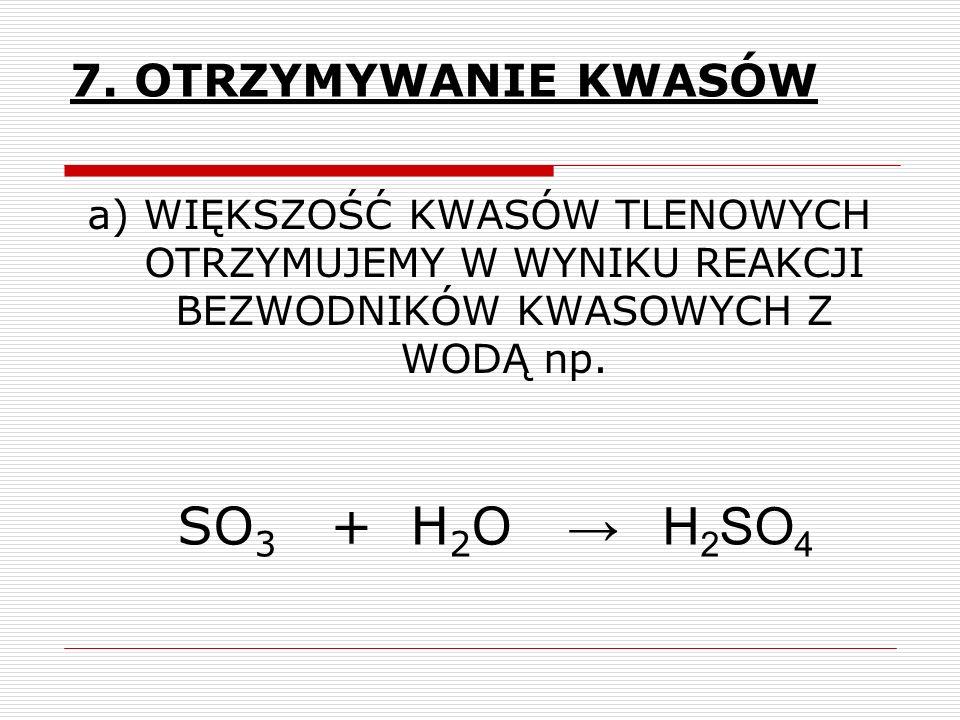 SO3 + H2O → H2SO4 7. OTRZYMYWANIE KWASÓW