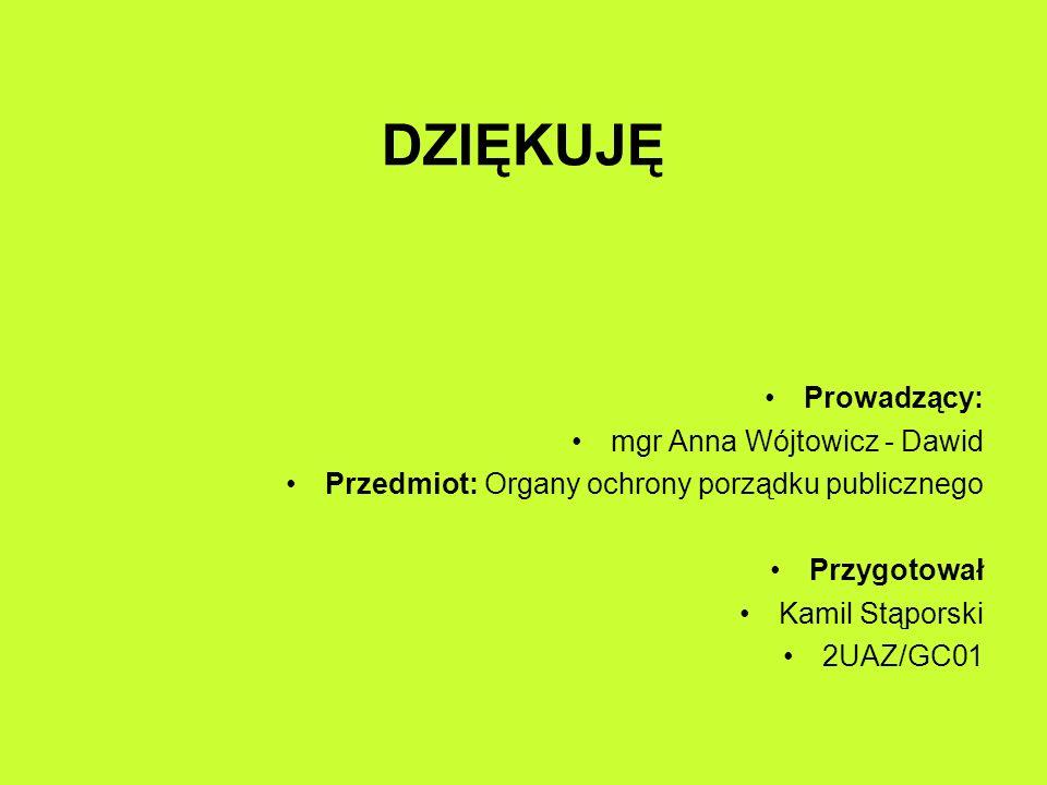DZIĘKUJĘ Prowadzący: mgr Anna Wójtowicz - Dawid