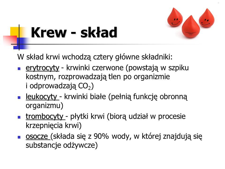 Krew - skład W skład krwi wchodzą cztery główne składniki: