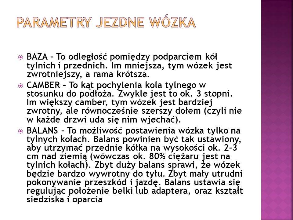 PARAMETRY JEZDNE WÓZKA