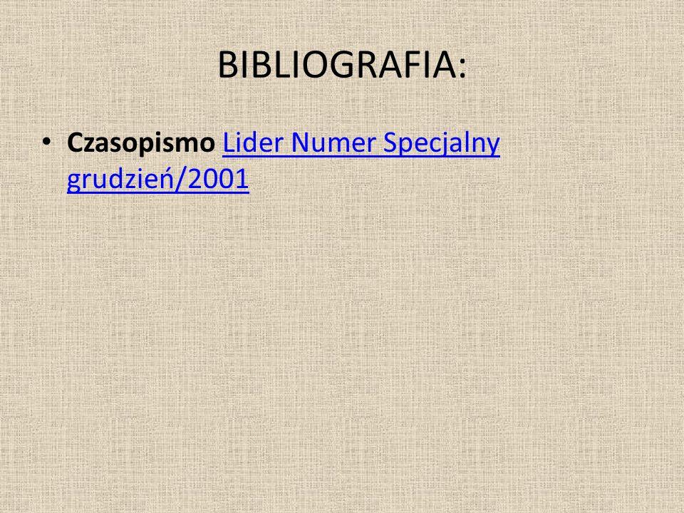 BIBLIOGRAFIA: Czasopismo Lider Numer Specjalny grudzień/2001