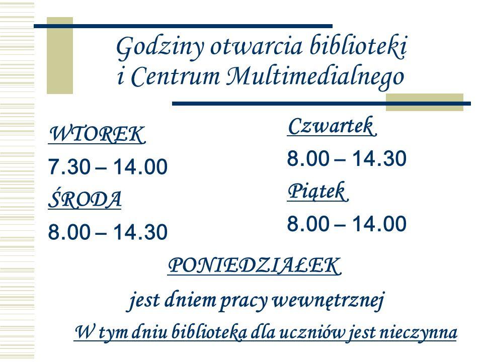 Godziny otwarcia biblioteki i Centrum Multimedialnego