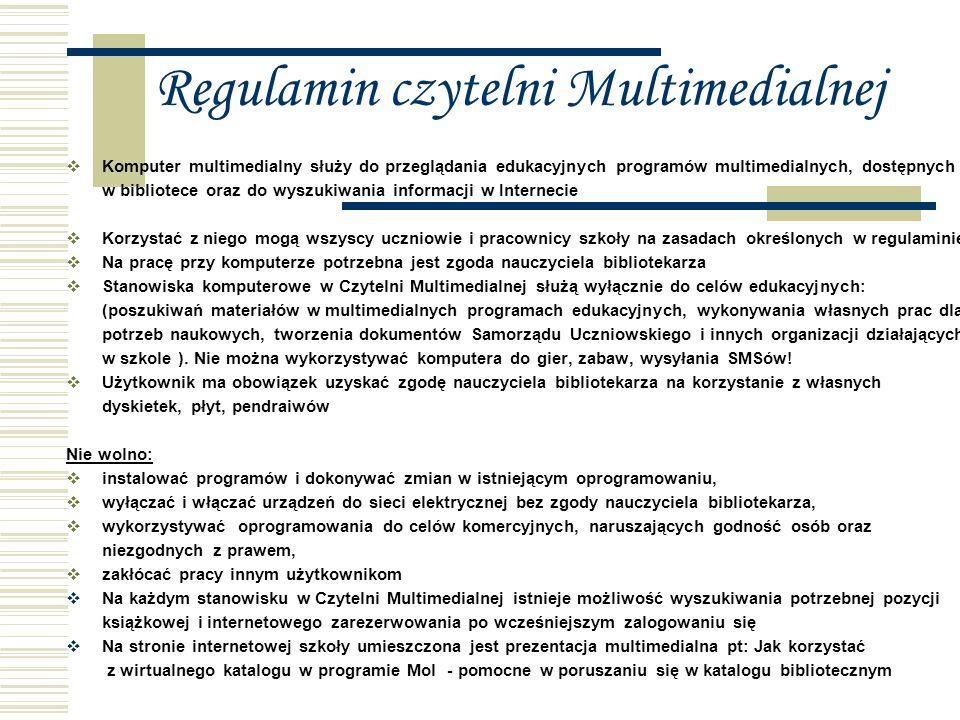 Regulamin czytelni Multimedialnej
