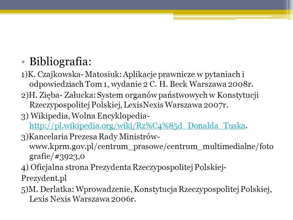 Bibliografia: 1)K. Czajkowska- Matosiuk: Aplikacje prawnicze w pytaniach i odpowiedziach Tom 1, wydanie 2 C. H. Beck Warszawa 2008r.