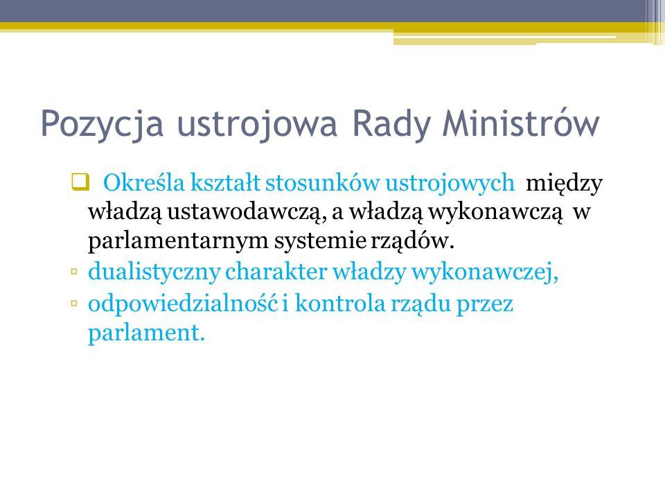 Pozycja ustrojowa Rady Ministrów