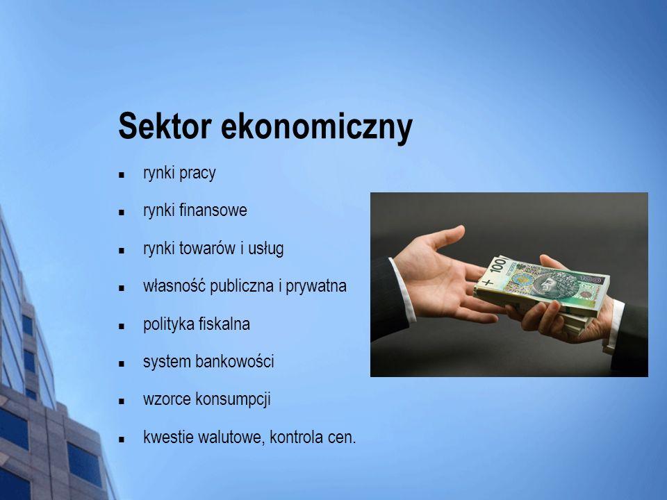 Sektor ekonomiczny rynki pracy rynki finansowe rynki towarów i usług