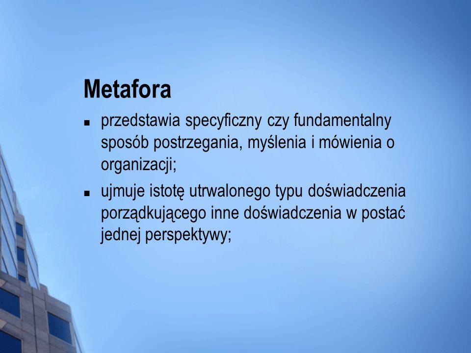 Metaforaprzedstawia specyficzny czy fundamentalny sposób postrzegania, myślenia i mówienia o organizacji;