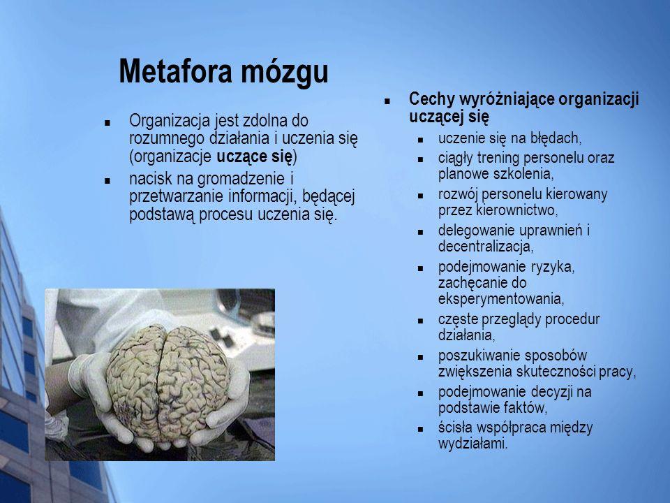 Metafora mózgu Cechy wyróżniające organizacji uczącej się