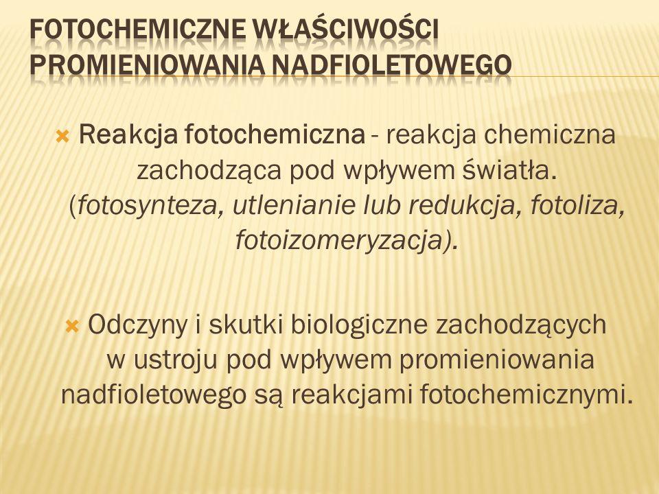Fotochemiczne właściwości promieniowania nadfioletowego