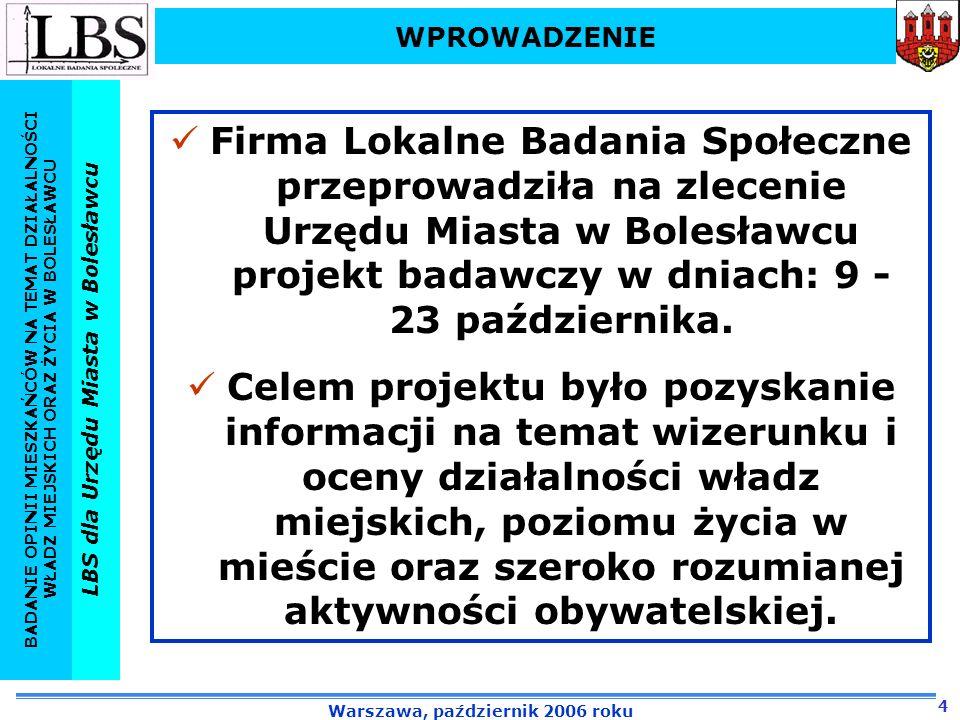 WPROWADZENIEFirma Lokalne Badania Społeczne przeprowadziła na zlecenie Urzędu Miasta w Bolesławcu projekt badawczy w dniach: 9 - 23 października.