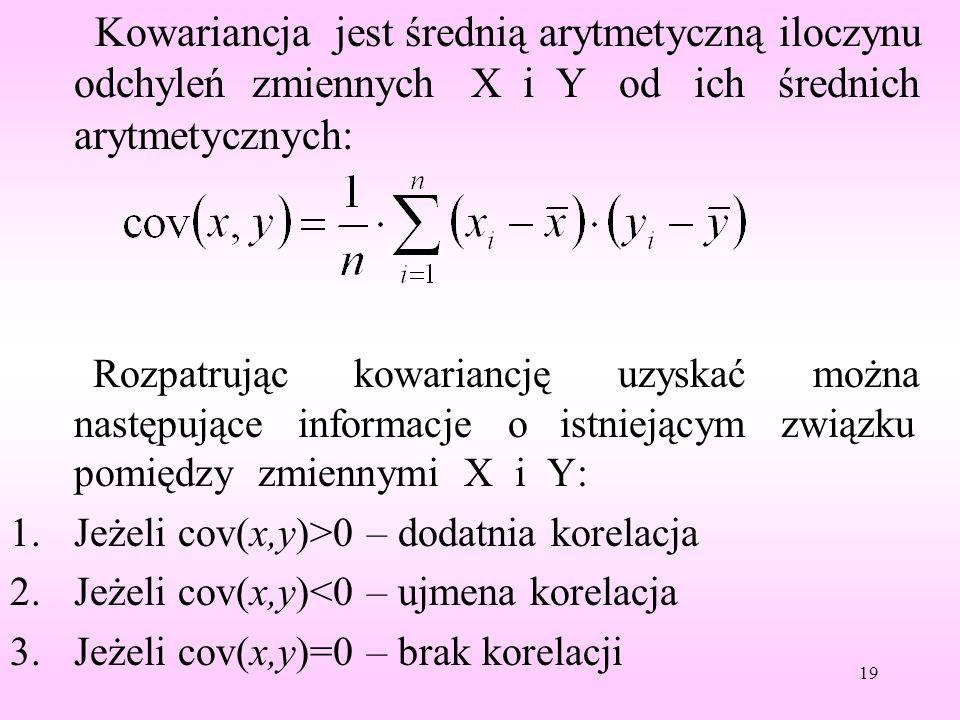 Kowariancja jest średnią arytmetyczną iloczynu odchyleń zmiennych X i Y od ich średnich arytmetycznych: