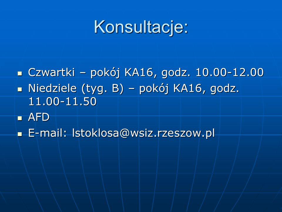Konsultacje: Czwartki – pokój KA16, godz. 10.00-12.00