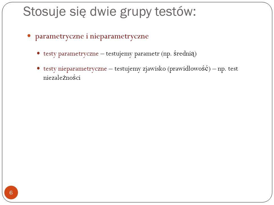Stosuje się dwie grupy testów: