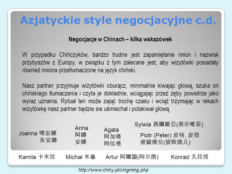 Azjatyckie style negocjacyjne c.d.