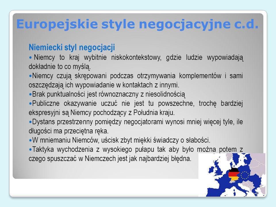 Europejskie style negocjacyjne c.d.