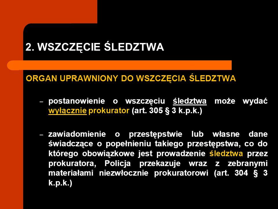 2. WSZCZĘCIE ŚLEDZTWA ORGAN UPRAWNIONY DO WSZCZĘCIA ŚLEDZTWA