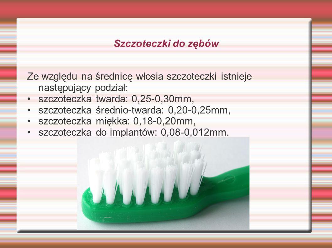 Szczoteczki do zębów Ze względu na średnicę włosia szczoteczki istnieje następujący podział: • szczoteczka twarda: 0,25-0,30mm,