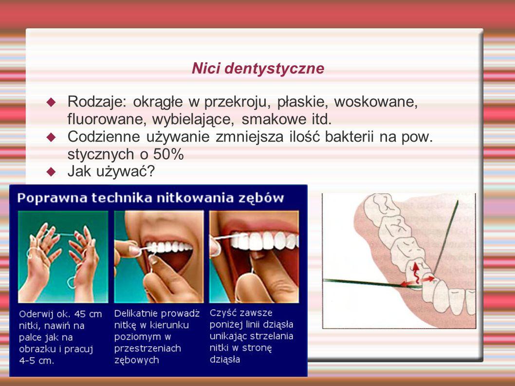 Nici dentystyczne Rodzaje: okrągłe w przekroju, płaskie, woskowane, fluorowane, wybielające, smakowe itd.