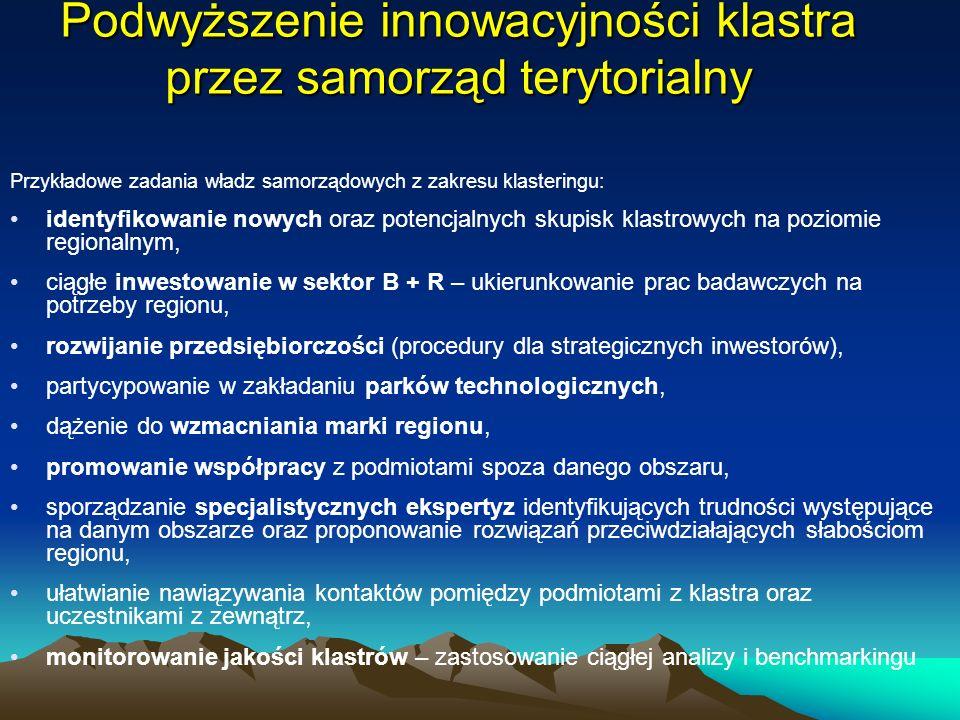 Podwyższenie innowacyjności klastra przez samorząd terytorialny