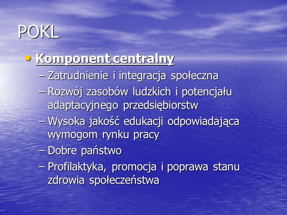 POKL Komponent centralny Zatrudnienie i integracja społeczna