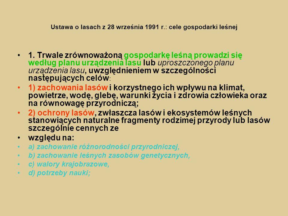Ustawa o lasach z 28 września 1991 r.: cele gospodarki leśnej