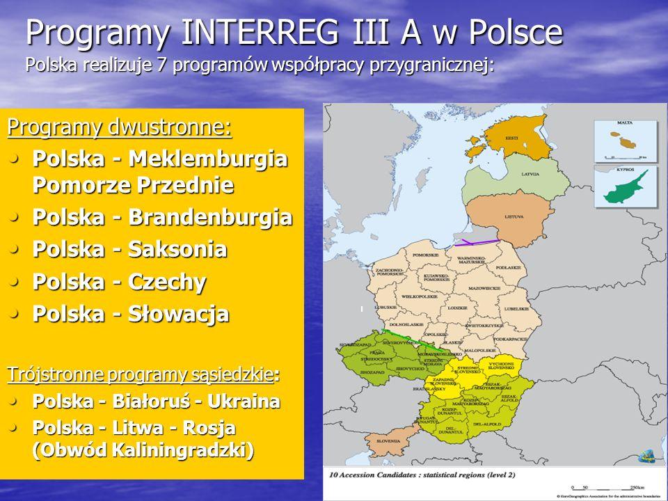 Programy INTERREG III A w Polsce Polska realizuje 7 programów współpracy przygranicznej: