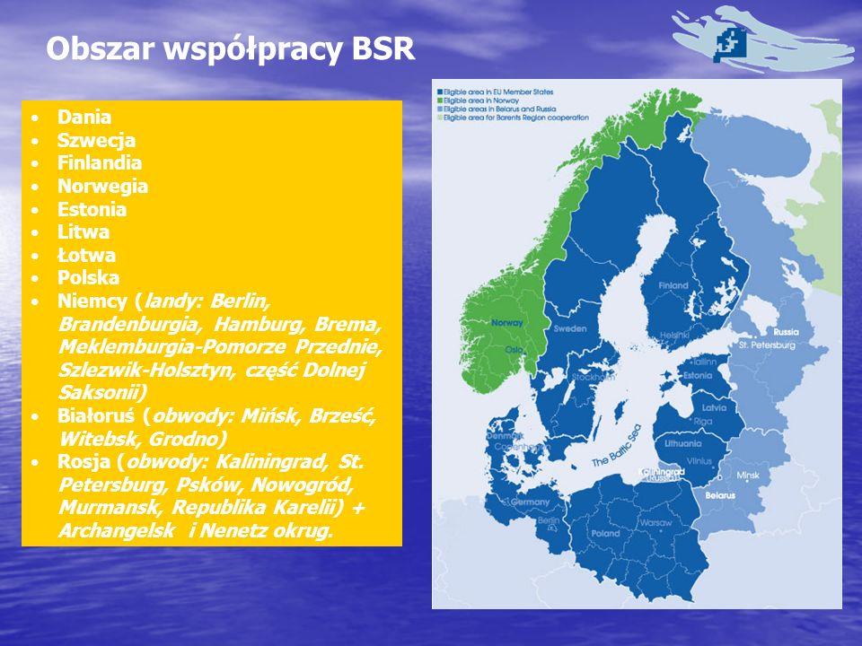 Obszar współpracy BSR Dania Szwecja Finlandia Norwegia Estonia Litwa