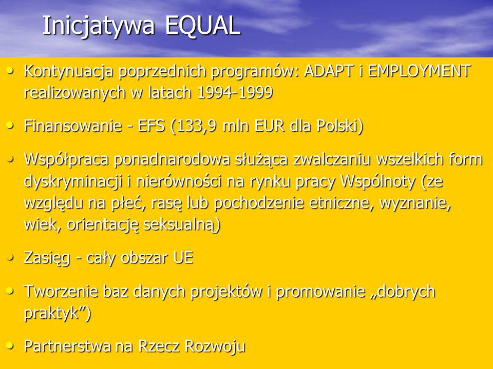 Inicjatywa EQUAL Kontynuacja poprzednich programów: ADAPT i EMPLOYMENT realizowanych w latach 1994-1999.