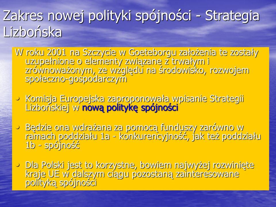 Zakres nowej polityki spójności - Strategia Lizbońska
