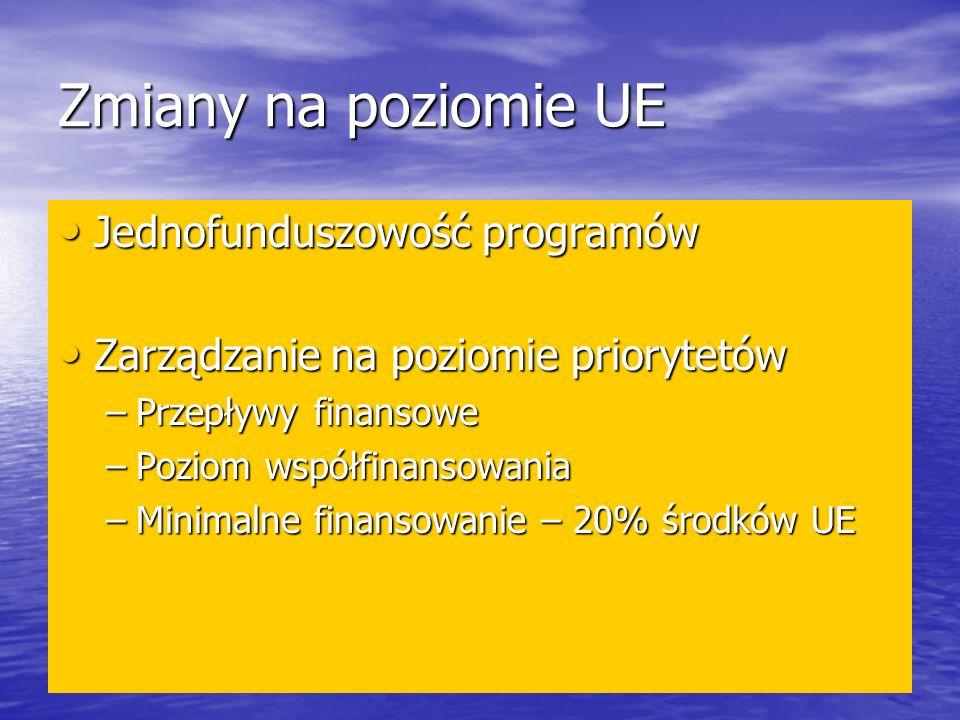 Zmiany na poziomie UE Jednofunduszowość programów