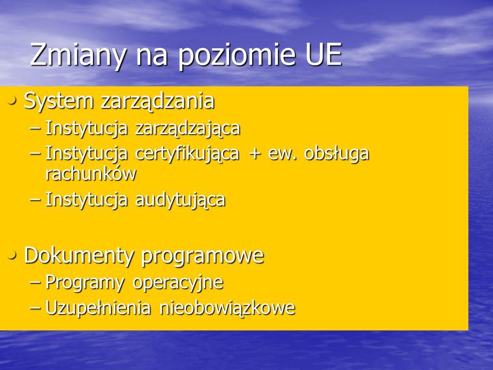 Zmiany na poziomie UE System zarządzania Dokumenty programowe