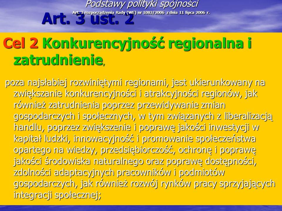 Art. 3 ust. 2 Cel 2 Konkurencyjność regionalna i zatrudnienie,