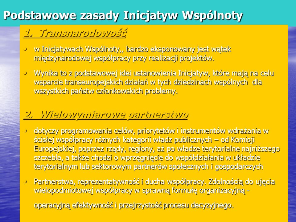Podstawowe zasady Inicjatyw Wspólnoty