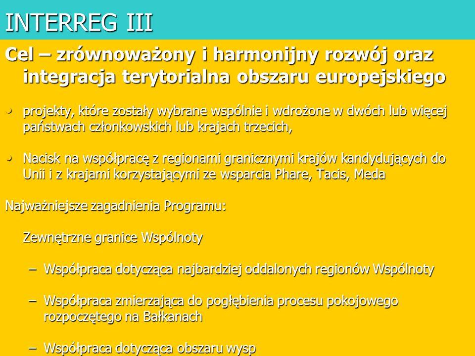 INTERREG III Cel – zrównoważony i harmonijny rozwój oraz integracja terytorialna obszaru europejskiego.
