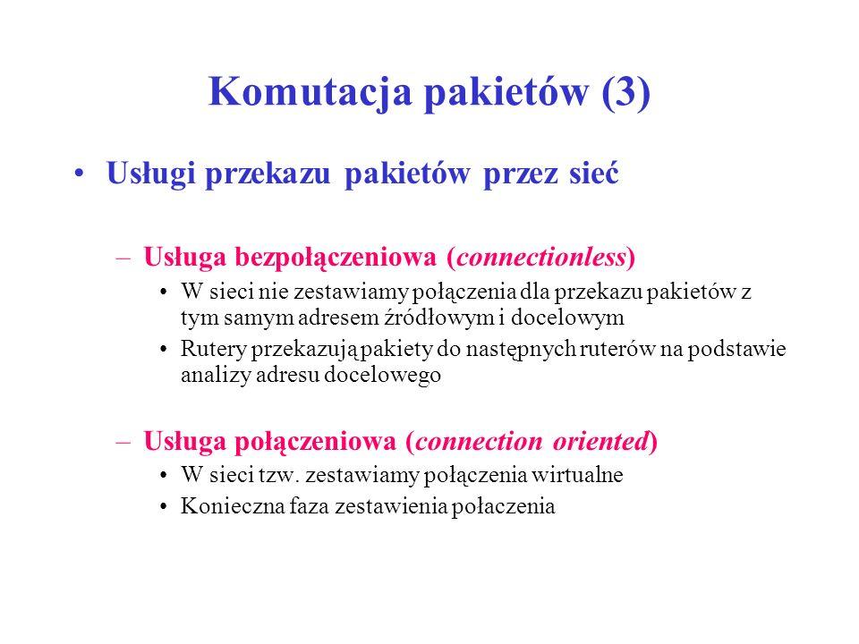 Komutacja pakietów (3) Usługi przekazu pakietów przez sieć
