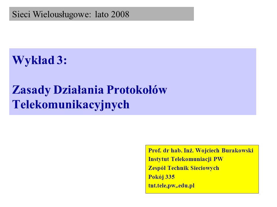 Wykład 3: Zasady Działania Protokołów Telekomunikacyjnych